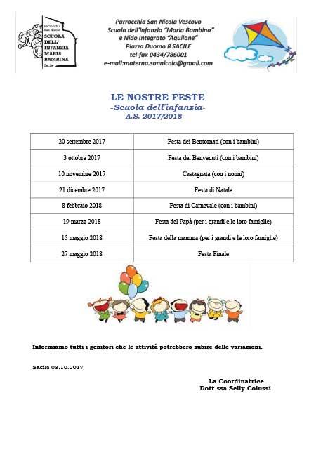 Calendario Bambini Scuola Infanzia.Scuola Dell Infanzia Maria Bambina Sacile Calendario